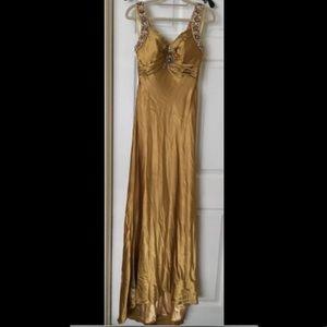 Silk Bronze Beaded Dress